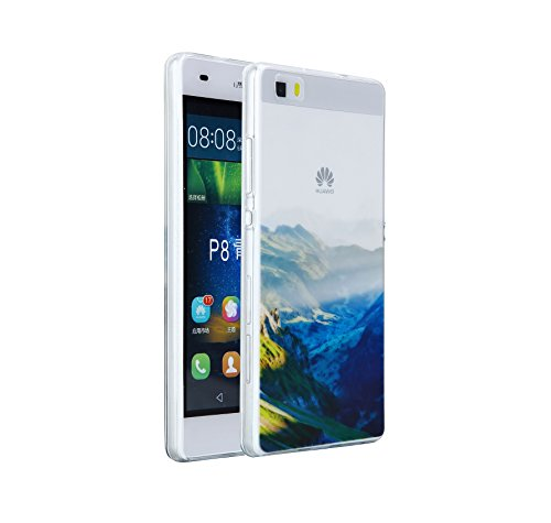 Huawei P8 Lite Hülle,EinsAcc Silikon Landschaft Weich Hülle Case Backcover für Huawei P8 Lite (Berg) Grün Berg
