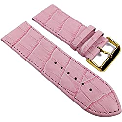 Minott Big Fashion - Louisiana Print Replacement Band Watch Band Leather Kalf Strap pink 21925G, Abutting:28 mm