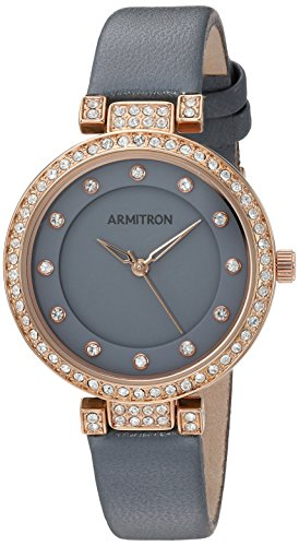 Armitron Women's 75/5455GYRGGY Swarovski Crystal Accented Rose Gold-Tone and Grey Leather Strap Watch