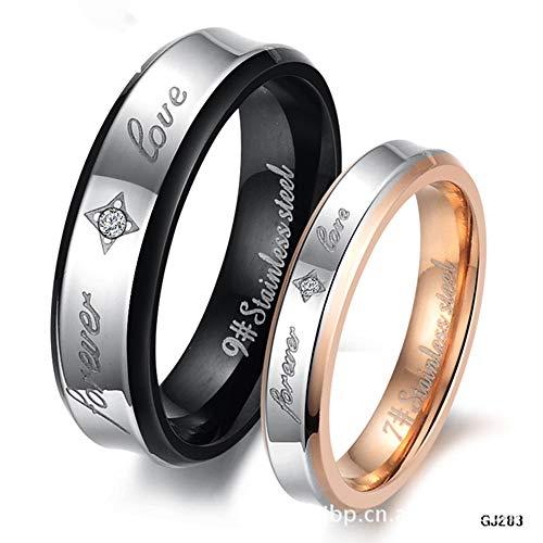 ASH Titan Verlobungsring, Ring Zirkonia Eternity Wedding Band Paar Für Jahrestag/Verlobung/Versprechen/Paar Ring, Mensize7