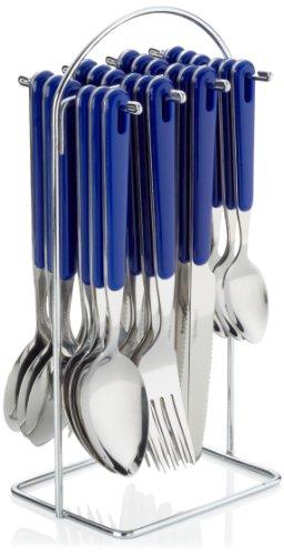 24-tlg. Besteck BISTRO, Farbe: blau aus Edelstahl 18/0, poliert, inkl. verchromtem Besteckständer,
