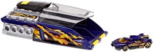 Mattel Hot Wheels - Doble súper Lanzador para Coches en Miniatura, Incluye 2 Coches Turbo Power, Color Azul (H6996)