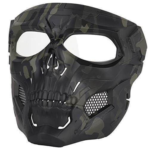 Haunen Taktische Maske, Schutzmaske Halloween Airsoft Paintball Full Face Skull Schutzmaske, 19 x 18cm (MA-110-BCP) -