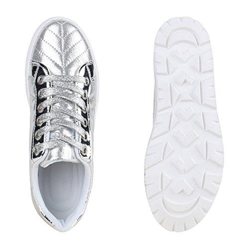 Damen Plateau Sneakers | Sneaker Metallic Cap | Lack Schuhe Blumen | Allyear Schuhe Velours Schleifen Silber