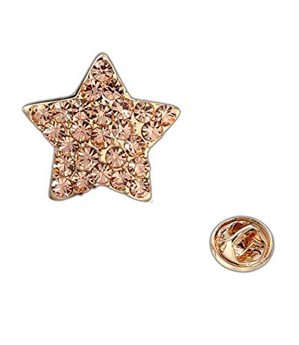 Vintage spilla d'oro placcato champagne Swarovski Elements Crystal Star Pentagram collare punta per le donne - Stars Il Partito Collare