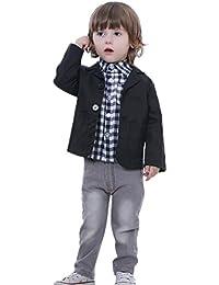 Happy Cherry - Traje de 3 Piezas para Niño Boda Fiesta Ropa Elegante Camisa Cuadros Clásica Abrigo Pantalones Vaqueros con Lazo - Negro - 2-8 años