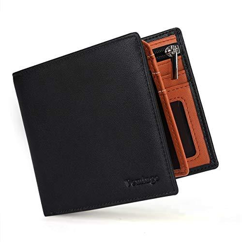 Herren Geldbeutel Geldbörse mit Münzfach und Sichtfenster | RFID Blocker Brieftasche Karten Portemonnaie Brieftasche Portmonee für Männer XB-037 Schwarz-Orange
