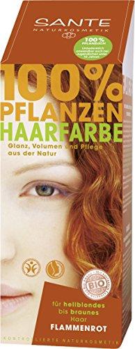 SANTE Naturkosmetik Pflanzen-Haarfarbe Pulver Flammenrot, Hennapulver, Kräftiges naturrot, Glänzende Farben, 100% Natürlich, Vegan, 100g