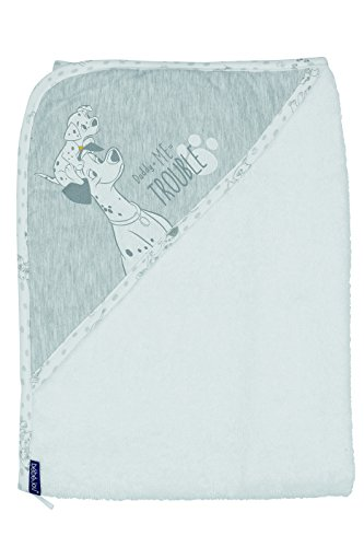 bébé-jou 3010101 Kapuzentuch 101 Dalmatiner, 75 x 85 cm, weiß