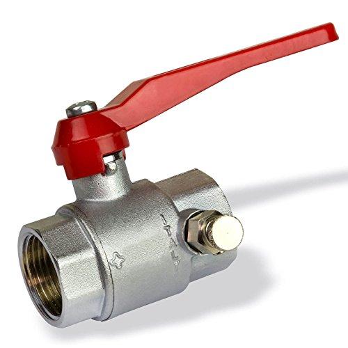 elhahn 1 Zoll DN25 mit Entleerung für Wasser Messing Kugelventil Absperrventil Heizung Absperrhahn Entlüftung ()