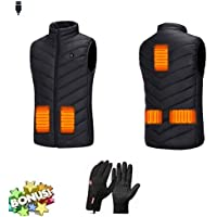 Freefa Electric Heated Vest USB Lightweight ize Right 5 Heating Zones Water Wind Resistant with Touchscreen Glove