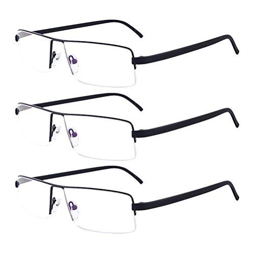 Zhhlinyuan 3 Pack Lesebrille Herren Damen - Lightweight Readers 80's Reading Glasses Half-frame Style TR90 Eyeglasses for Men Crystal Clear Vision