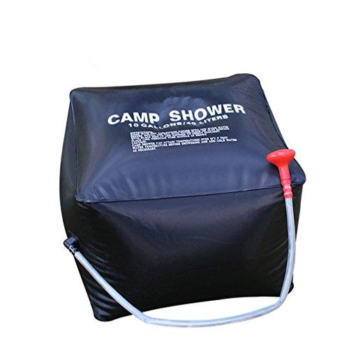 CFtrum 40L Doccia Solare Portatile per Campeggio Outdoor Giardino, Resistente e Durevole PVC, Colore: Nero