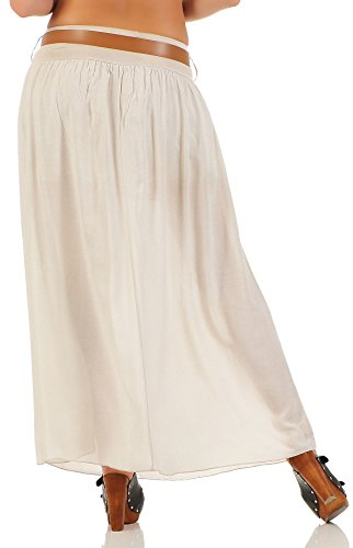 malito jupe avec ceinture été Stretch Maxi A-ligne 17126 Femme Taille Unique Beige