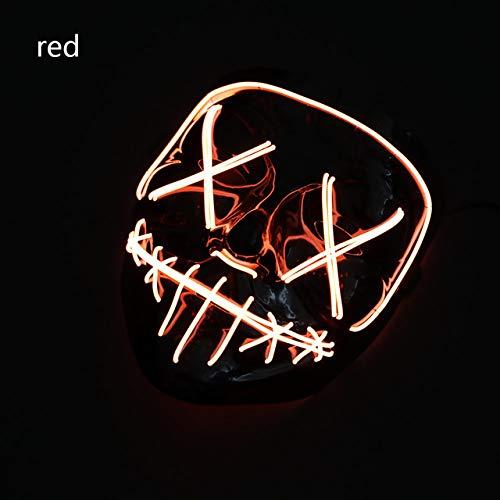WSJMIANJU Halloween-Maske Halloween-Maske LED-Maske Leuchtende Party-Masken Neon Maska Cosplay-Wimperntusche Horror-Wimperntusche Glow In Dark Masque V für VendettaRed -