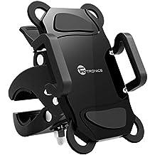 Porta Smartphone Bici TaoTronics Supporto Bici Smartphone, Supporto Cellulari per Dispositivi iOS & Android/GPS (Morsetto Antiscivolo, Rotazione a 360 Gradi, Grip in Gomma per 4 Angoli