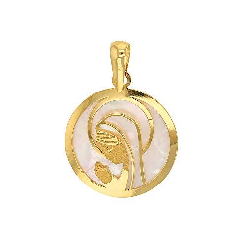 Jouailla-Medalla Virgen Oración en nácar y oro 750/1000(305008)