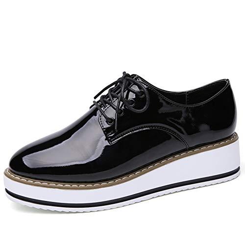 Zapatillas Oxford De Estilo BritáNico para Mujer Pisos con Punta Estrecha con Cordones Pliegues De Charol Plisado Plataforma Zapatos