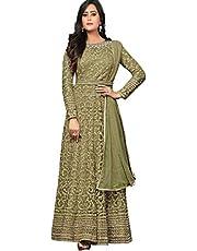 Fashion Basket Women's Nylon & Net Semi-stitched Salwar Suit