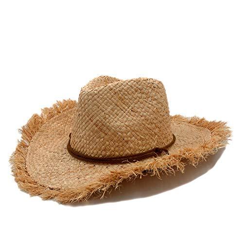 Mode Männer Jazz Hut Cowboys Strohhüte Besten Herren Western Natur Raffia Strohhut Frauen Cowgirls Roll-up Sommer Sun Caps - Beste Cowboy-hut