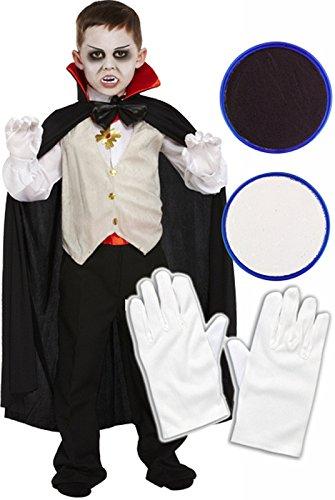 Dracula Vampir, Halloween-Kostüm für Kinder, inkl. Handschuhe & Face (Dracula Girl Kostüme)