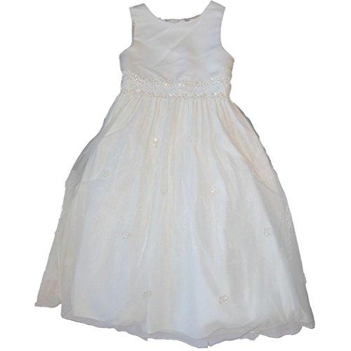 Cinderella festliches Kinder Mädchen Princess Kleid zur Kommunion Hochzeit oder Firmung Weiß Blumen und Perlen 122