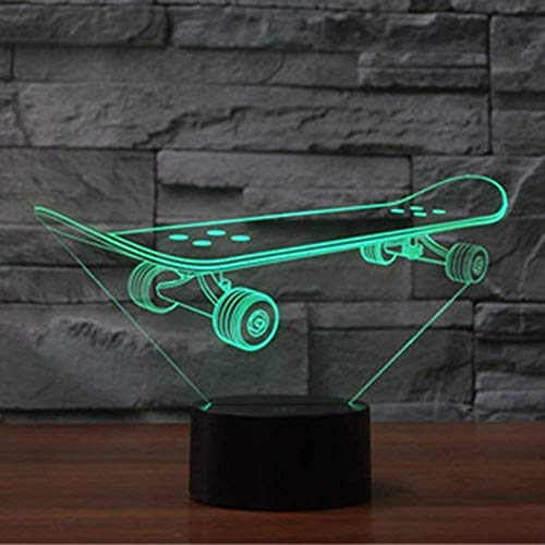 3D Skateboard Illusions Lampen Tolle 7 Farbwechsel Acryl berühren Tabelle Schreibtisch-Nachtlicht mit USB-Kabel für Kinder Schlafzimmer Geburtstagsgeschenke Geschenk