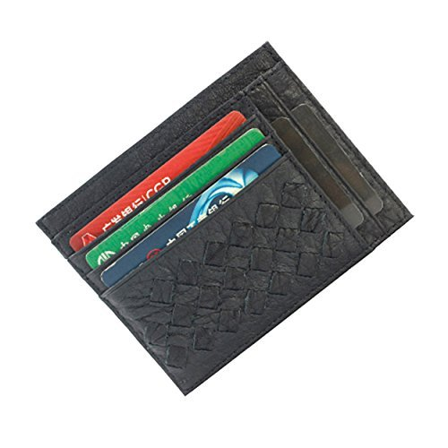 Tingoo Slim Front Pocket Card Wallet Genuine Leather Card Holder/Sleeve Large Capacity Medium schwarz -