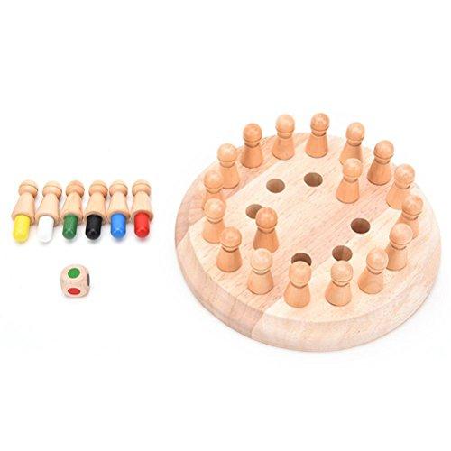 Natureich Memory Holz Spiel mit Spielfiguren / Montessori Spielzeug zur Entwicklung der Erinnerung & Lernen von Farben mit Holzfiguren Natur Kinder ab 3 Jahre / bunt