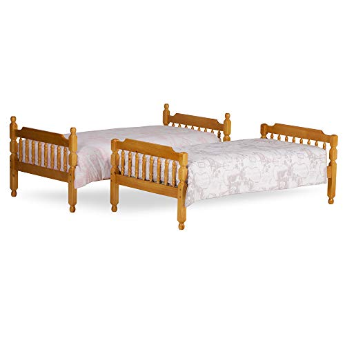 Happy Beds Colonial Solid Honey Pine Wooden Bunk Bed Kids Children Furniture Frame 3' Single 90 x 190 cm