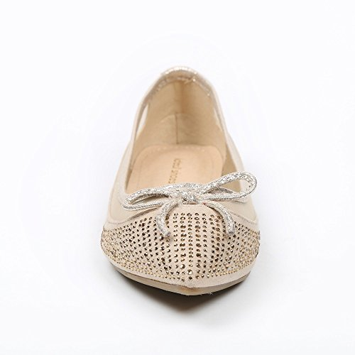 Ideal Shoes - Ballerines bi-matière incrustées de strass Theane Beige
