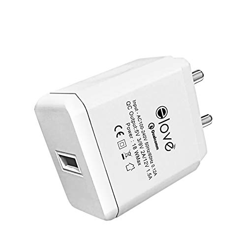 Elove Qualcomm Quick Charge 3.0A/18W USB Charger Adapter [Rapid Charge] [Ultra Power] [FR Grade Material] QC 3.0 USB Wall Charger Adapter for All iOS and Android Devices (Data Cable Not Included)