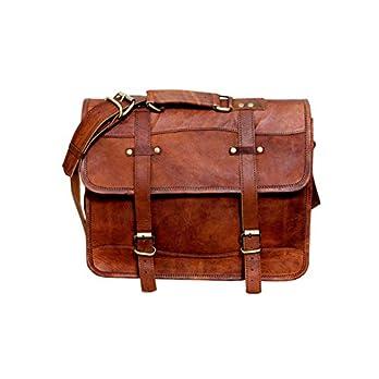 15″Leinwand Laptop Messenger Leder Messenger Bag, Vintage Leder rustikale Ledertasche