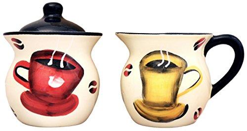 Toskana Colorful Coffee Bean Keramik, handbemalt Creamer und Zucker Set, 83332von ACK Apple Creamer