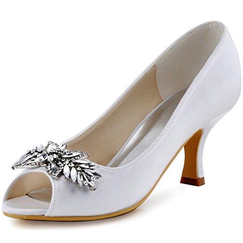 ElegantPark HP1540 Escarpins Femme Satin Diamant Feuille Bout ouvert Pompes Chaussures de Soiree Mariage Blanc