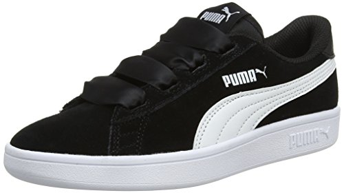 Puma Girl's Smash V2 Ribbon Jr Black Sneakers-5 Kids