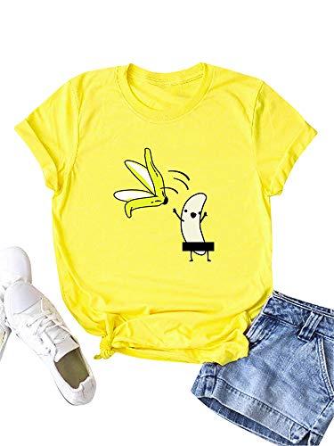 Festnight Camiseta de Verano de Manga Corta para Mujer Blusa...
