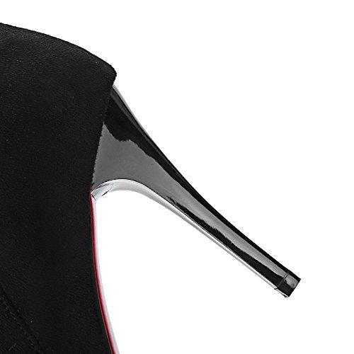 Odomolor Damen Mattglasbirne Niedrig-Spitze Eingelegt Reißverschluss Hoher Absatz Stiefel Schwarz
