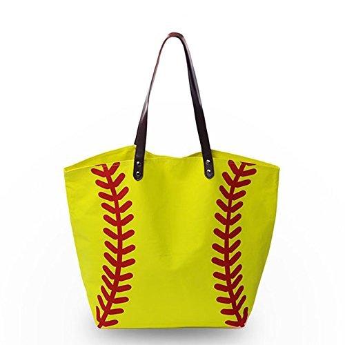 Baseball Bag Handbag for Woman Shopping Bag Travel Bag YIQIGO On Sale Canvas Casual Bag with Polyester Linning Sports Bag (flower) Yellow