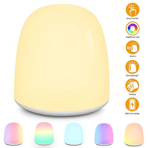 Nachtlicht Baby LED Nachtlicht Kind Touch Dimmbar Nachttischlampe Stimmungslichtmit Augenschonendem Warmem/Kaltem Licht und 256 RGB Farbwechsel zum Schlafen Entspannende Unterhaltung