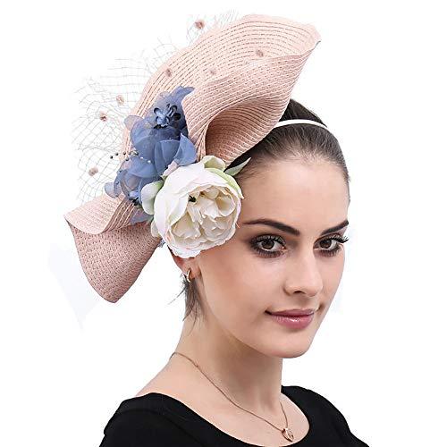 NQN Luxuriöse Sinamay Fascinators für Frauen, Kopfschmuck aus Blumenmaschen, Pillboxhat Kentucky Derby-Hüte, Hochzeitskirche-Brautcocktail-Kopfbedeckungen