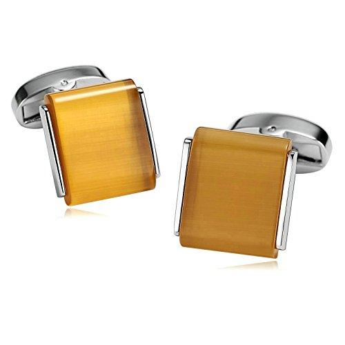 Man Anzug Echter Iron (Aooaz 1 Paar / 2 Stück Herren Manschettenknöpfe Edelstahl Quadrat Gelb Verlobung Manschettenknopf 1.6 x)