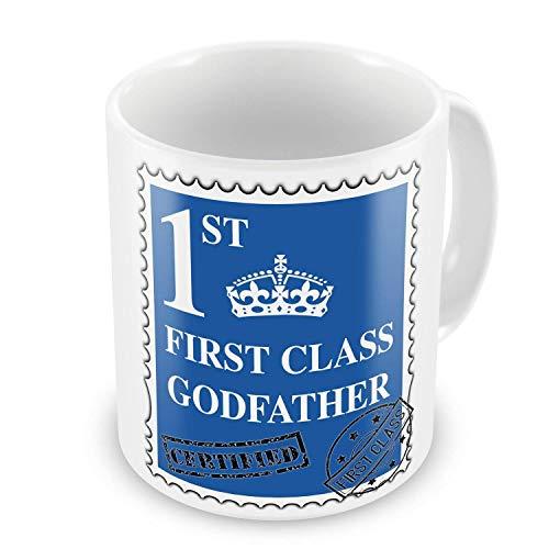 First Class Godfather Novelty Gift Mug - Blue