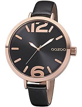 Oozoo Damenuhr mit Lederband 48 MM Rose/Schwarz/Schwarz C8394