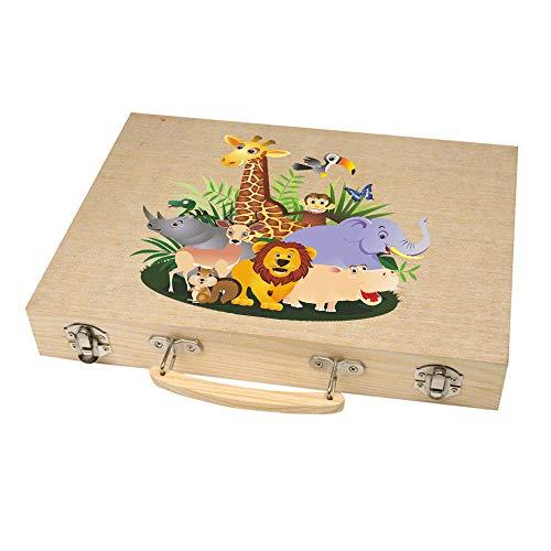 Malkoffer \'PAINT BOX 66\' mit 11 Utensilien - 66-teiliges Malset für Schule und Co.: Der kompakte Malkasten im praktischen Holzkoffer! , Motiv:Motiv 06