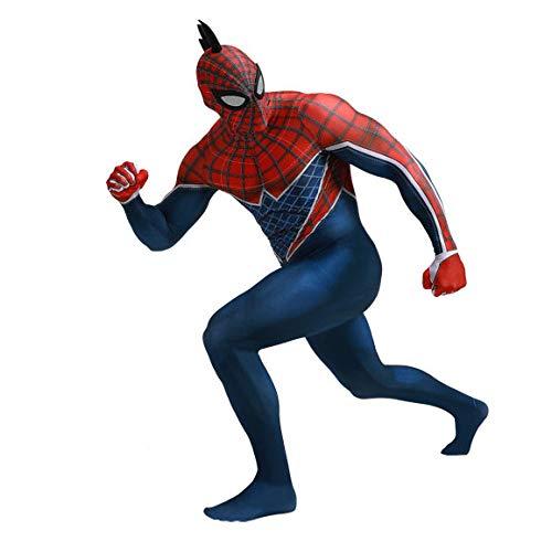 SEJNGF Spiderman Cosplay Einteilige Strumpfhose Erwachsene Kinder Lycra Spandex Anzug Halloween Rolle Performance Kleidung (Kopfbedeckung Kann Getrennt Werden),Women-L