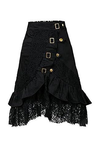 Frauen Punk-Rock Gothic Spitzenrock Black XXL