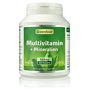 Multivitamin + Mineralien, 560 mg, hochdosiert, Vegi-Kapseln – alle wichtigen Vitamine (Tagesbedarf), Mineralien und Spurenelemente. Mit hoher Bioverfügbarkeit. OHNE künstliche Zusätze. Vegan.