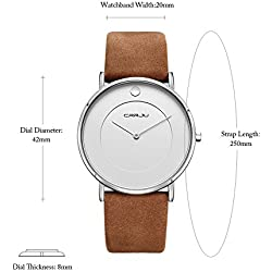CRRJU Mens Quartz Analog Watch Genuine Leather Strap Ultra Thin Casual Wristwatch Business Dress Watches 30M 3ATM Water Resistant Black/ Brown+Gold/Brown+Silver