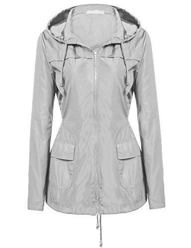Nueva mujer Casual con capucha manga larga sólida impermeable cortaviento abrigo